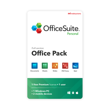 OfficeSuite Personal - 1 Year Subsccription - Compatible with Microsoft Office Word Excel & PowerPoint and Adobe PDF