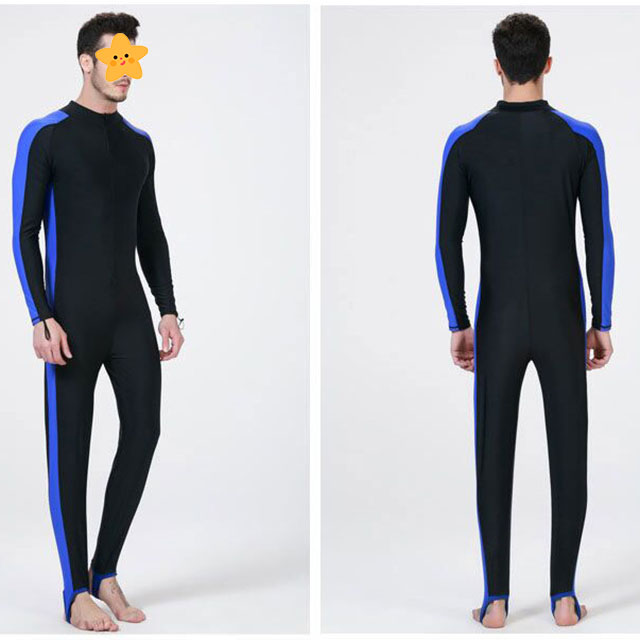 Men one piece rashguard swimsuits with unisex fitting