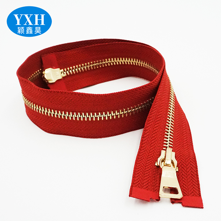 Wholesale custom length 5# Gold tooth brass metal  long chain zipper roll