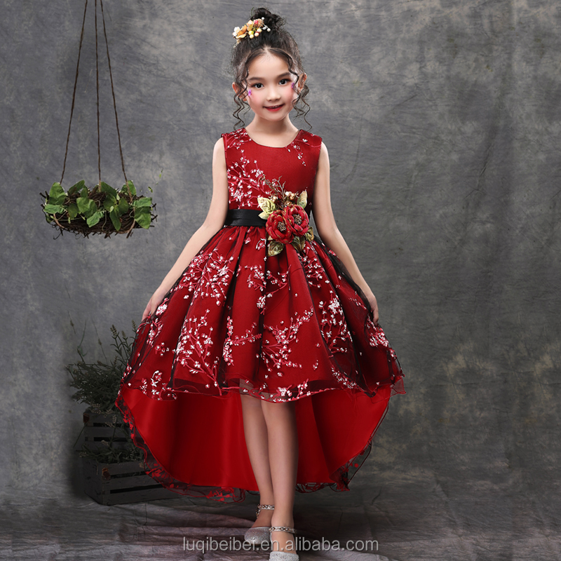 Девичий платье фортепиано Производительность платье набивной ткани цветы ручной работы 2153