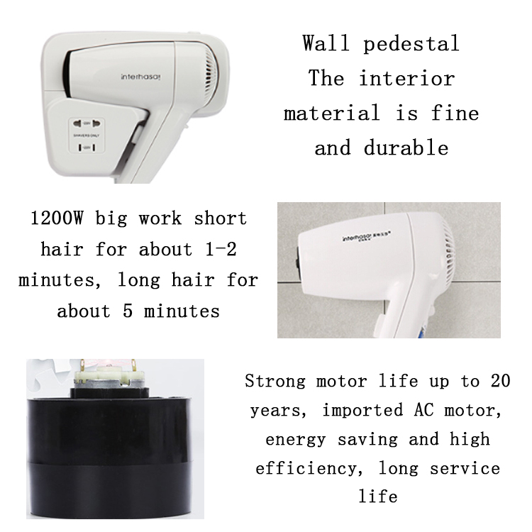 2020 Wholesale ABS Custom Electric Wall Mounted Hair Dryer Professional Salon Hotel Hair Dryer