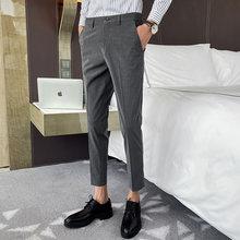 Классические мужские костюмные брюки, деловые брюки для офиса, повседневные облегающие брюки для свадьбы, уличная одежда, брюки черного цве...(Китай)