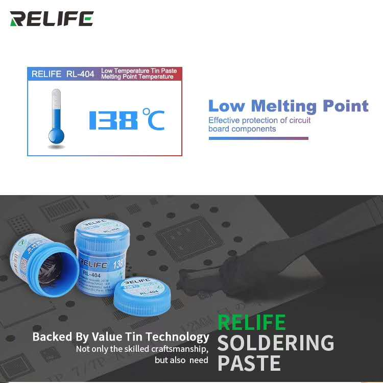 RELIFE RL-404  lead-free low temperature solder paste 138 degree