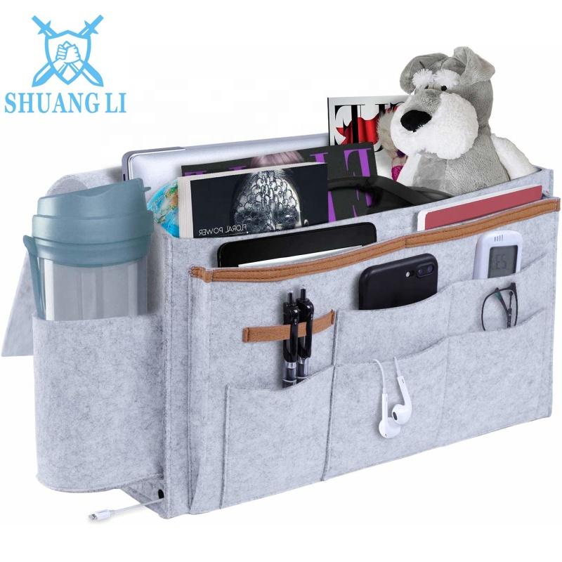 Grand sac de rangement en feutre de chevet | Poche avec porte-gobelet d'eau multi-poches