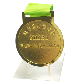 New design custom sport gold medal with ribbon