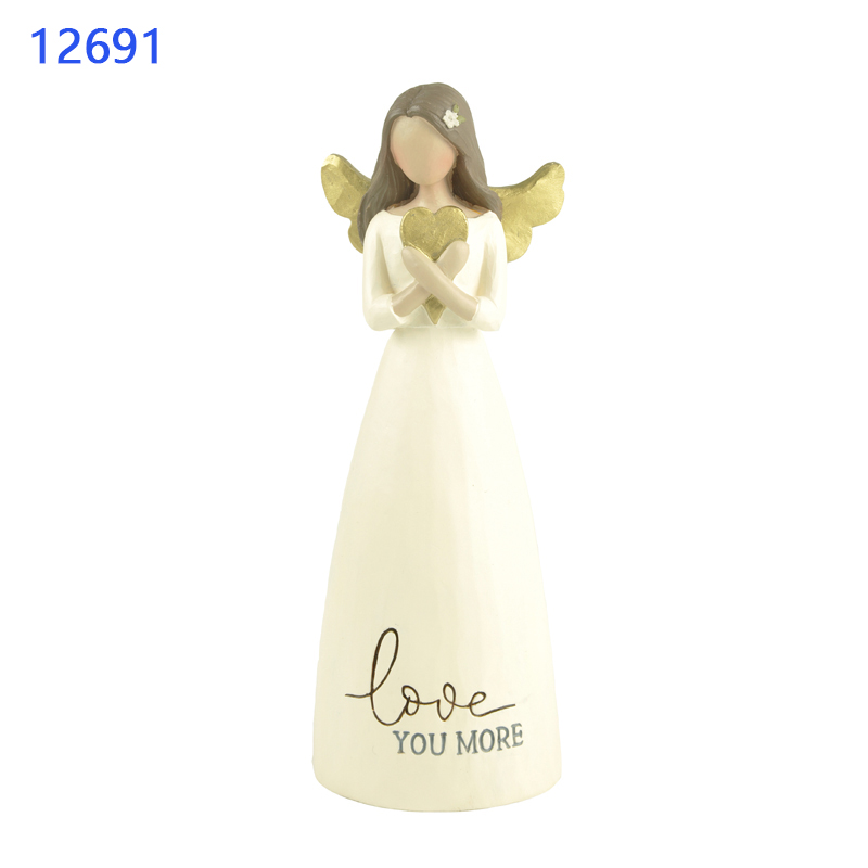 "Wall Angel Statue  ""FAITH GOD ANSWERS"" ANGEL WITH HEART Statuette For Home Decore Angel Statues Resin"