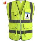 Practicability Custom 2 Pockets Neon Green Safety Vest With Reflective Strips