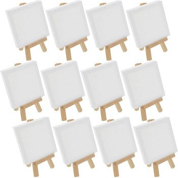 Artists 5 inch Mini Easel +3 inch x3 inch Mini Canvas Set Painting Kids Craft DIY Drawing Small Table Easel for School 10x10cm