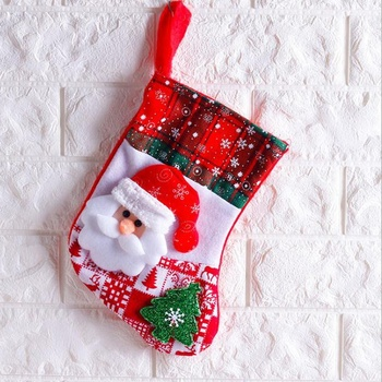 Wholesale Price Linen Christmas Stocking Santa Claus Sock