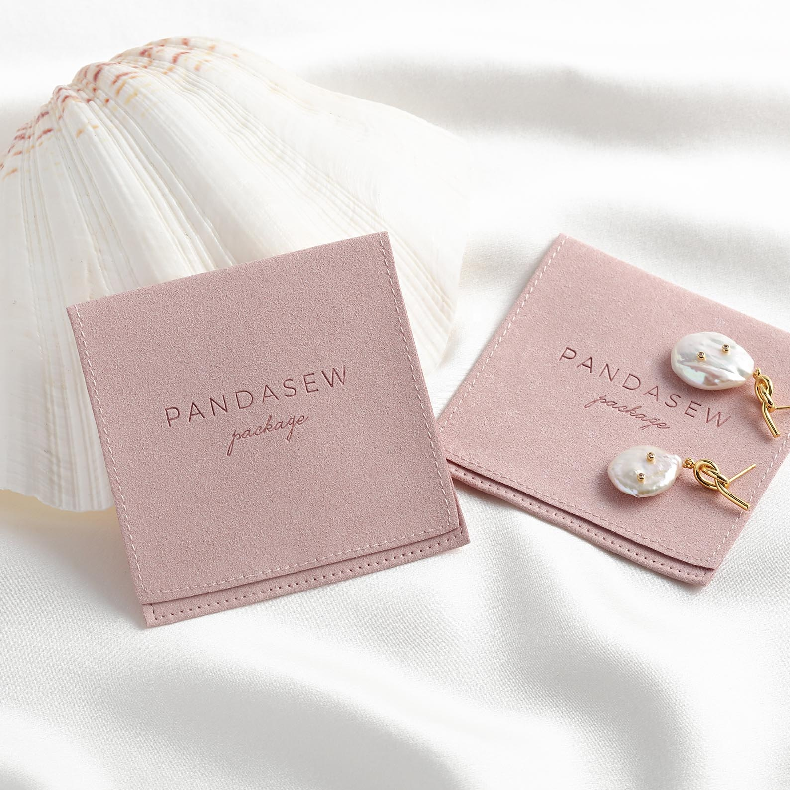 PandaSew High Quality Handmade Microfiber Jewelry Bag Packaging Custom Logo Jewelry Pouch, Customized color
