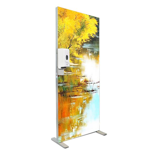 Automatic touchless frameless fabric Led Strip Light Box with smart sensor Hand dispenser