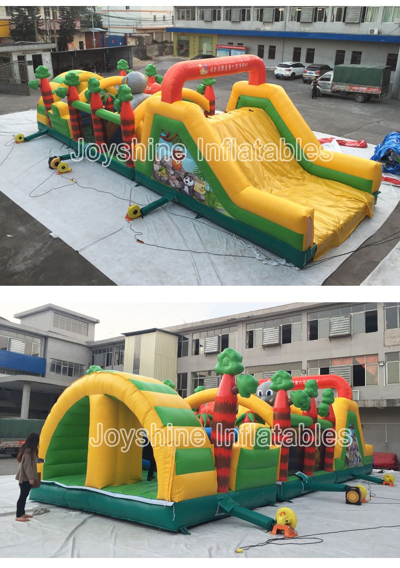 Dinosaur Obstacle Courses 5K Fun Run Races 2019 Inflatable Jungle Obstacle Course For Kids and Adult