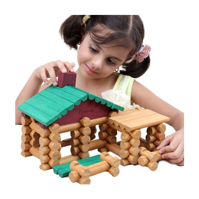 382 pcs primitive tribes LOG ชุดการศึกษาของเล่นไม้บล็อกสำหรับเด็ก