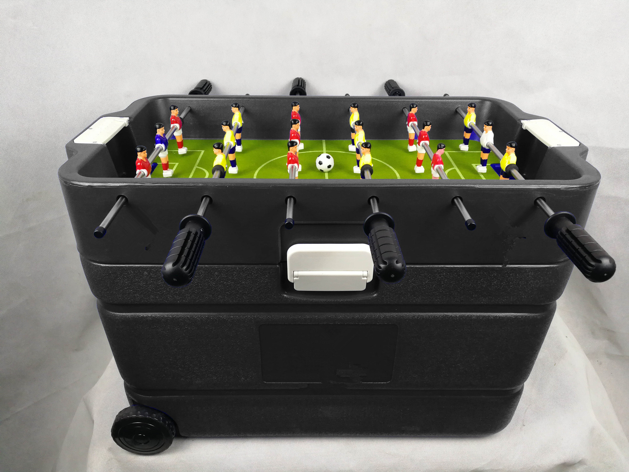 popular table foosball with plastic cooler box bring wheels