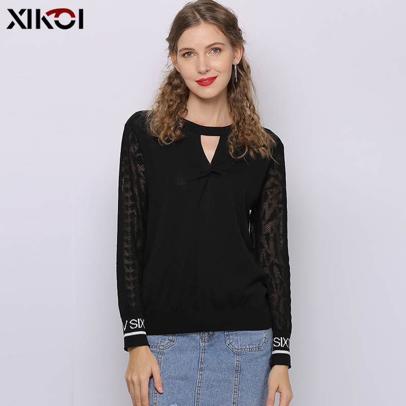 Design Hot Selling High Quality Long Sleeve Lady Office Women Fashion White Chiffon Lace Stocking Black Ladies Blouse & Top