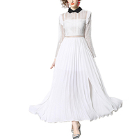 Woman latest clothes casual fashion wholesale turn down collar long sleeves hollow out draped white summer elegant ladies dress