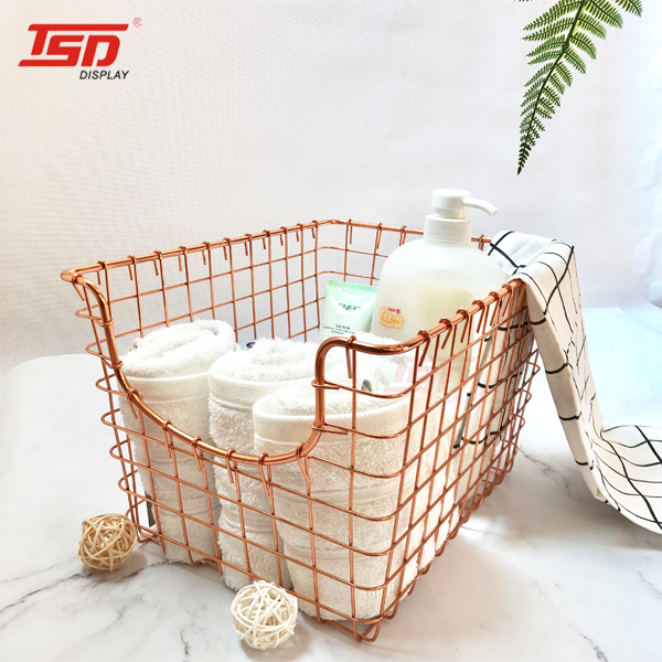 free sample Kitchen Cabinets <strong>Bathroom</strong> Rose gold Metal Wire mesh <strong>storage</strong> laundry <strong>baskets</strong>