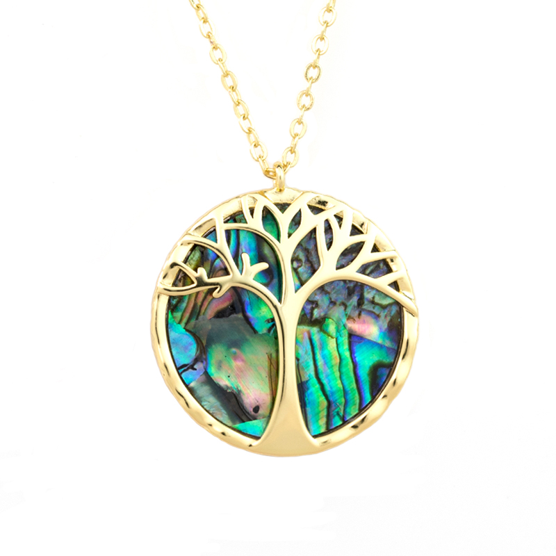 China wholesale abalone shell initial necklace 14k gold plated tree of life pendant abalone shell jewelry