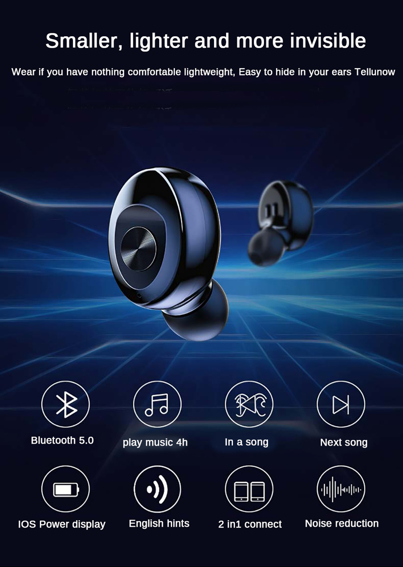 XG12 TWS Bluetooth 5.0 Wireless Stereo Earphone HIFI Headset Sound Sport Headset Handsfree Gaming Headset for Smart Phone