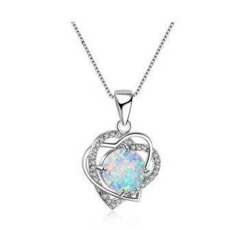 Fashion White Heart Opal Stone Pendants & Necklace for Women Anniversary Gift Silver Necklace Fine Jewelry for Girls