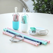 New 품 아이디어 휴대용 Eco Friendly Collapsible 실리콘 마시는 Reusable 짚 Supplier
