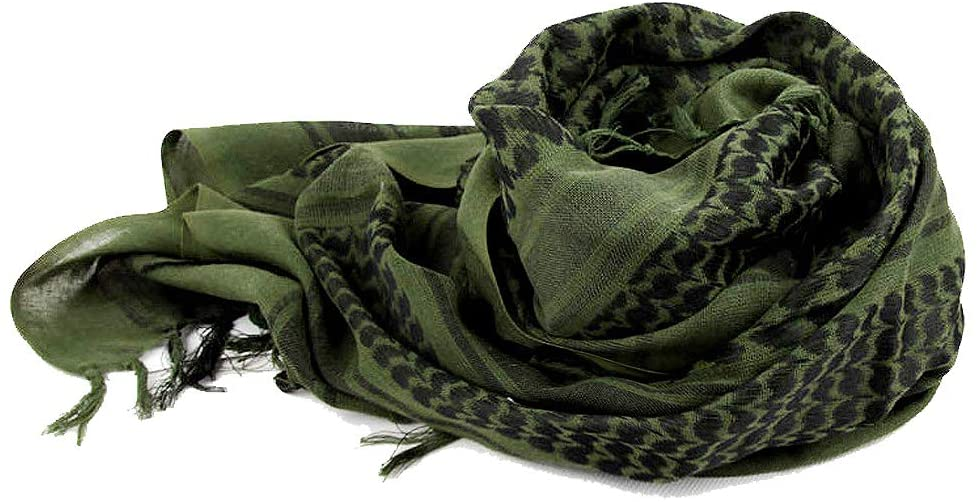 Military Tactical 100% Cotton Arab Wrap with Tassel Scarf Shemagh Tactical Desert Keffiyeh Head Neck Scarf