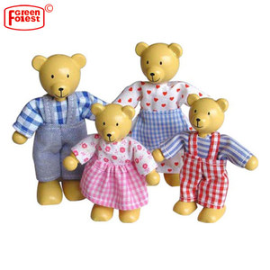 Lovely Little Bear Family Mini Wood Bear Doll Toy Wooden Dolls Family