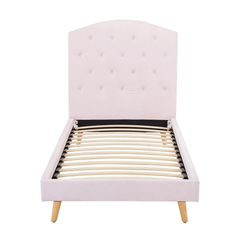 New model pink double large fabric upholstered solid wood bedroom bed