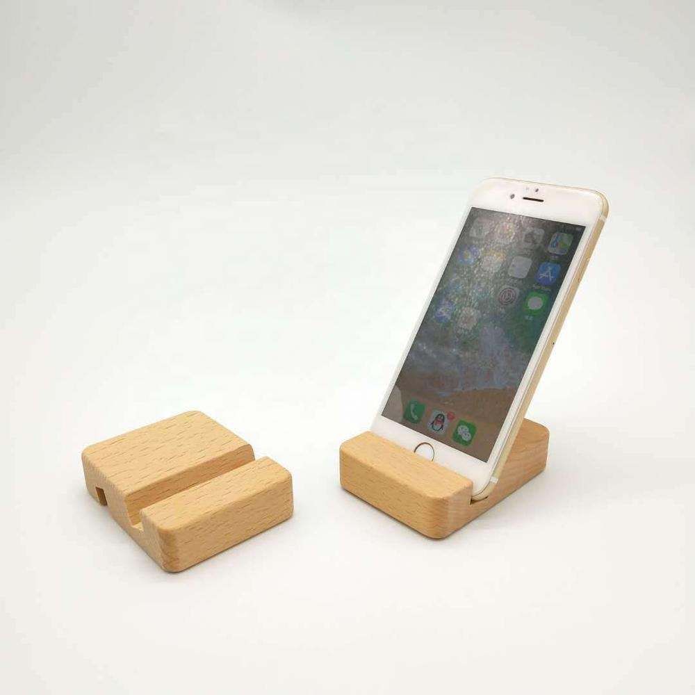 Wholesale high quality desk mobile phone stand custom logo wooden cell phone holder
