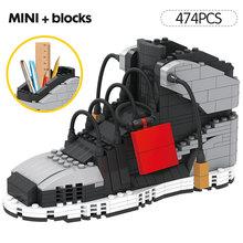 Новая Мини Милая спортивная баскетбольная обувь строительные блоки кроссовки Модель ручка контейнер кирпичи пенал игрушки для детей Канцт...(Китай)