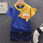 100% cotton boy 2 piece suit kids simple children clothing set