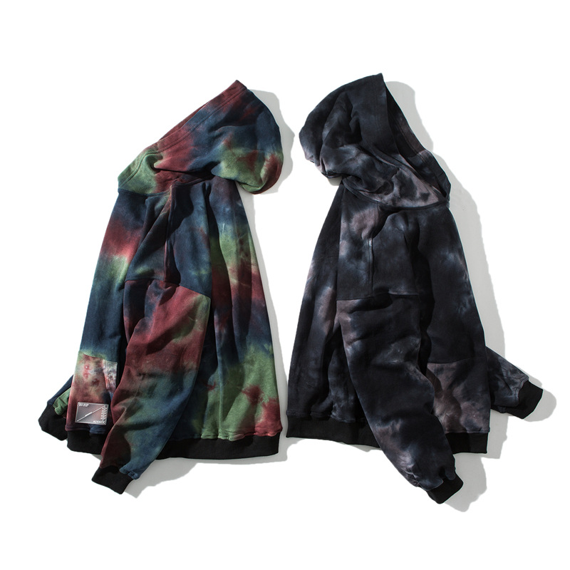Black Tie Die Hooded Hoodie Mens Street wear Casual 95 cotton Sweatshirts