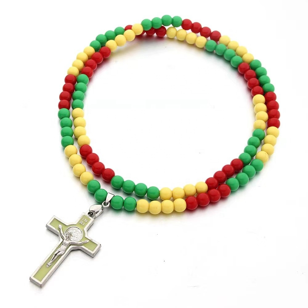 2019 rosary jewelry new colorful  acrylic bead   and  cross  simple fashion  catholic rosaries cheap