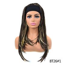 YxCheris Синтетический Плетеный косички парик с повязкой на голову легко носить Омбре полный парик Новая мода парик Черный Коричневый Серый(Китай)