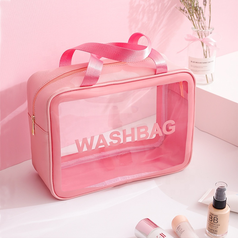 Wholesale Custom Logo Frosted Transparent Clear PVC Waterproof Makeup Travel Toiletry Case Cosmetic Bag Set Bag with Handles