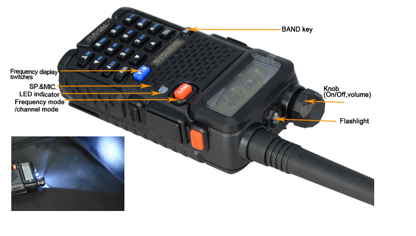 Baofeng UV-5R dual band walkie talkie with handsfree