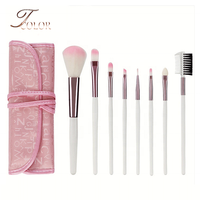 Hot Sale Cheap 8pcs Custom Logo White Makeup Brush Set with Pink Bag