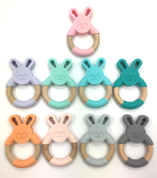 New Silicone and Wood Combined Bunny Bunni Baby Teething Wooden Teether Rabit