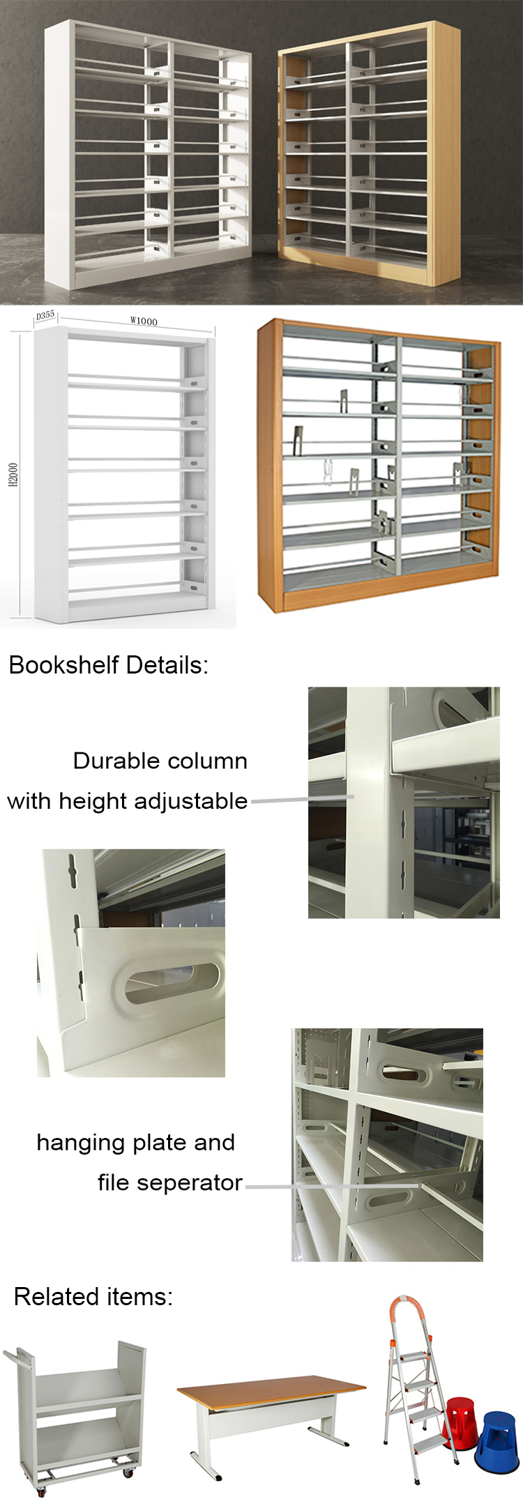 Customized Dimensions Wood Cover Stable Used Library Furniture