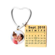 Персонализированный брелок с надписью и календарем на заказ, любое имя даты, брелок для ключей, кольца для женщин, мужчин, автомобильные юве...(Китай)