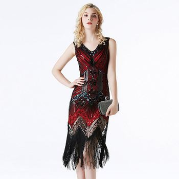 Women's Flapper Dresses 1920s V Neck Beaded Fringed Great Gatsby Sequin Tassel Dress