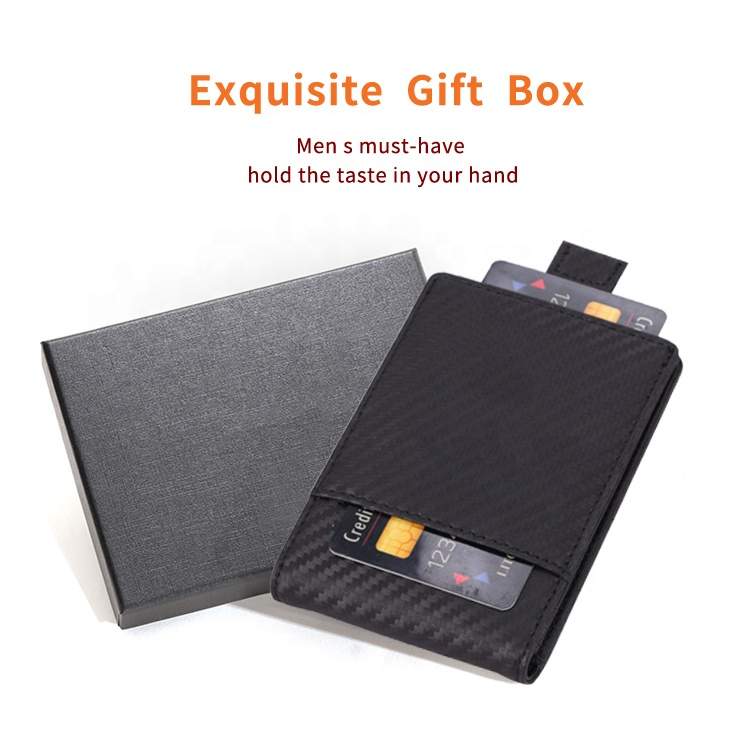 BSCI certificated directly factory genuine leather minimalist slim wallet carbon fiber rfid money clip mens wallet