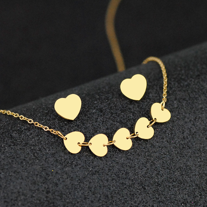 XBS007 Trade Assurance New Fashion Stainless Steel Love Heart Necklace Earrings Gold Plated Heart Shape 2pcs Women Jewelry Set