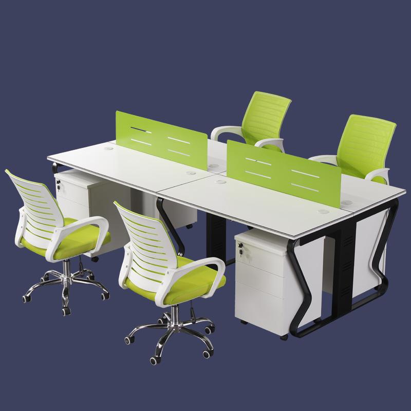 إطار من الاستانلس ستيل ستة شخص مكتب الأعمال الإطار المعدني مكتب الأثاث الرأسي الكمبيوتر مكتب