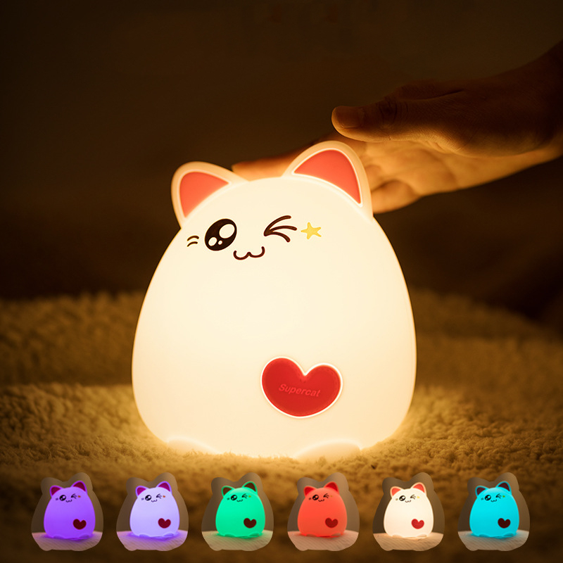 Cat Shaped Night Light Soft Silicone Touch Sensor Bedside Lamp 7 Color Changing Cute Portable Bedrooms Living Rooms Night Light