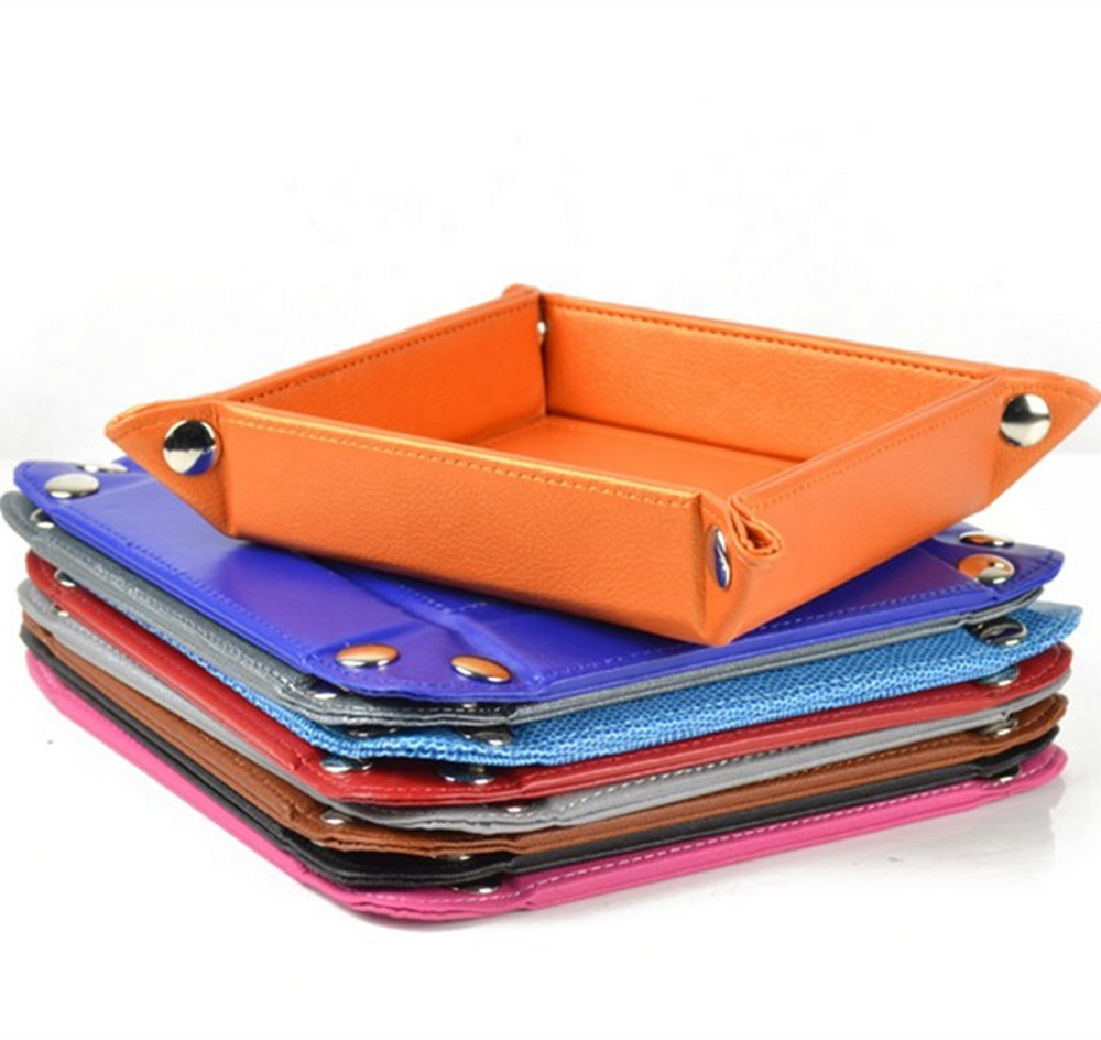 Personalized Folding Snap Leather Tray, Fashion Square Leather Snap Tray Wholesale