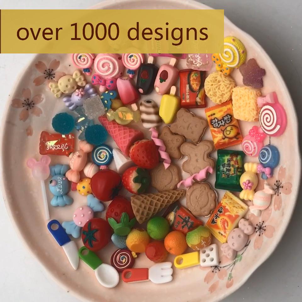 kawaii cone dessert resin flat back cabochons kids lollipop  candy  pendant ice cream charm