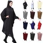2019 hot selling elegant muslim abaya lady thobe with hijab women use
