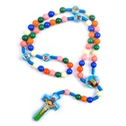 Free Shipping child multi saint father beads rosaries 20inch cord cartoon catholic Rosary for Kids
