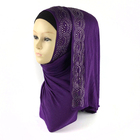 Factory sale women plain cotton jersey hijab with rhinestones scarves